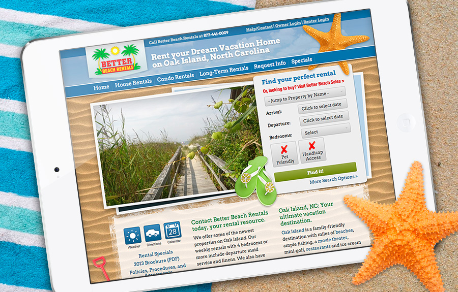 Better Beach Rentals Website